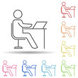 Employee at the desk line in multi color style icon. Simple thin line, outline vector of business organisation icons for ui and ux, website or mobile application