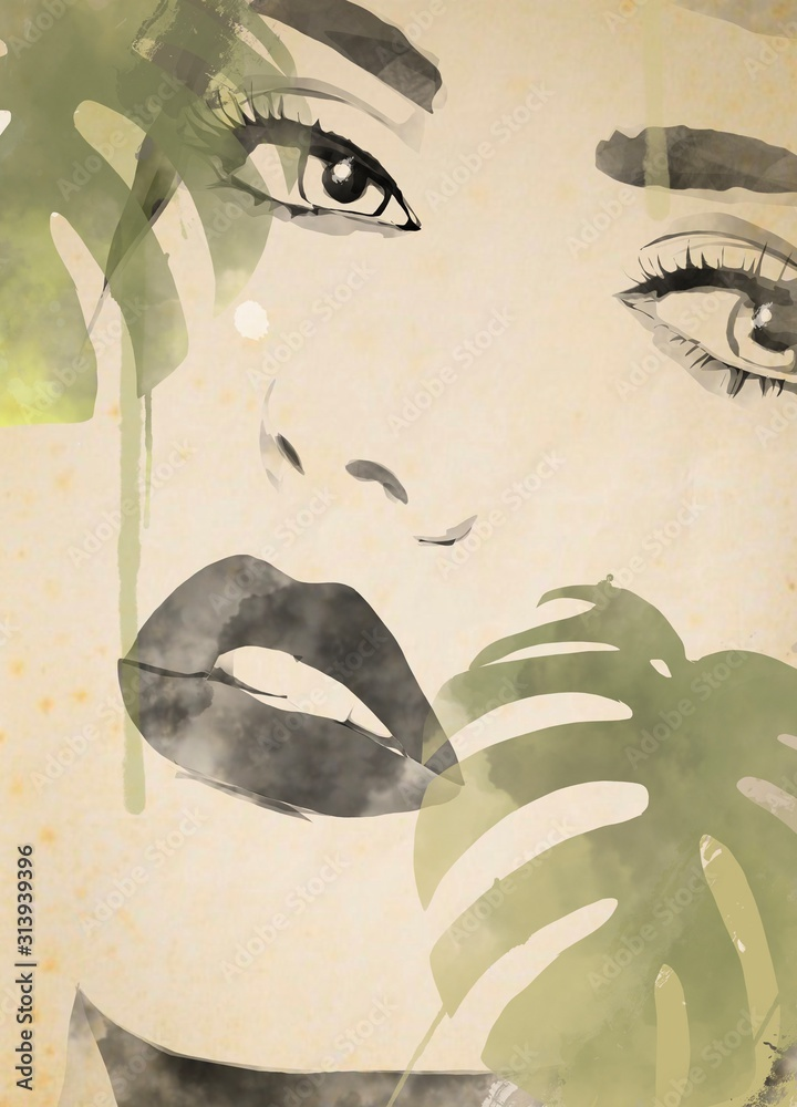 Watercolor painting woman face