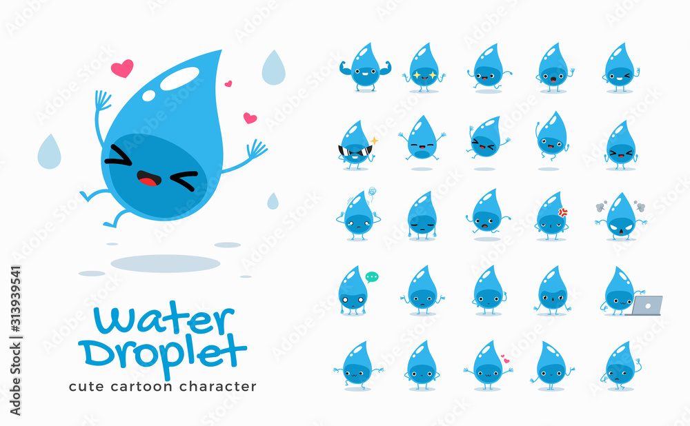 Fototapeta Vector set of cartoon images of Water. Vector Illustration.