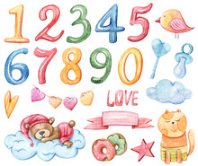 The Set Of Cutest Watercolor Animals And Numbers, Watercolor Illustration, Isolated Objects On White Background. Bear, Cat, Donuts, Clouds, Numbers.
