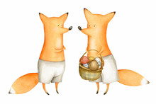 Cute And Funny Watercolor Foxes. Forest Animal. Illustration. Autumn. Greeting Card. Hand Drawn Characters