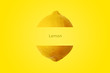 canvas print picture - whole ripe lemon citrus fruits with inscription on yellow background
