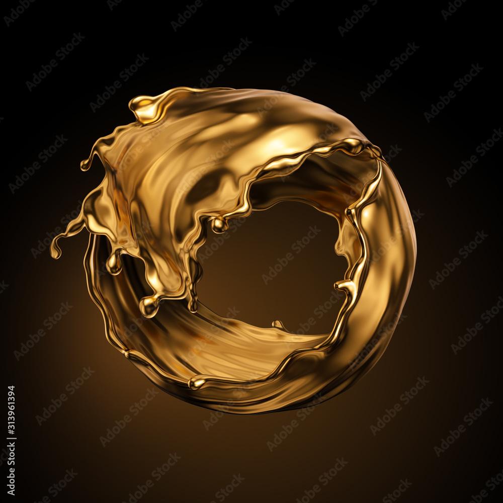 Fototapeta 3d rendering, round gold liquid splash, metallic swirl, cosmetic oil, golden splashing clip art, artistic paint, abstract design element isolated on black background. Luxury beauty concept