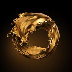 3D prikaz, okrugli zlatni kapljice tekućine, metalni kovitlac, kozmetičko ulje, zlatna prskalica, umjetnička boja, apstraktni element dizajna izoliran na crnoj pozadini. Luksuzni koncept ljepote
