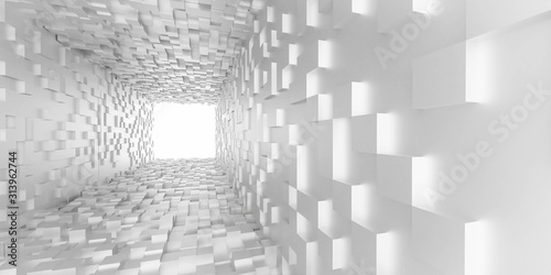 Fototapety 3d   abstract-white-light-at-the-end-of-the-tunnel-futuristic-concept-white-cubes-tunnel-3d-render-illustration