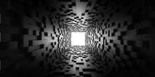 Abstract Light At The End Of The Tunnel Futuristic Concept Dark Cubes Tunnel 3d Render Illustration