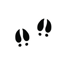 Vector Black Pig Foot Print St...