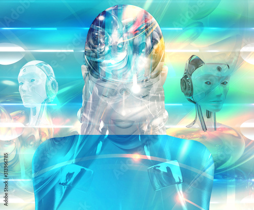 Science fiction scene with female robots, humanoid and androids Canvas Print