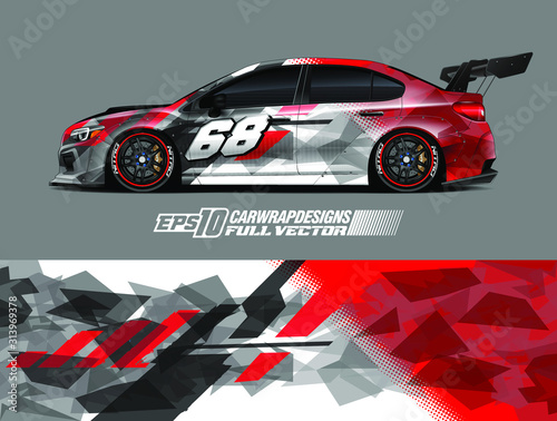Fototapeta Rally car graphic livery design vector. Graphic abstract stripe racing background designs for wrap cargo van, race car, pickup truck, adventure vehicle. Eps 10 obraz