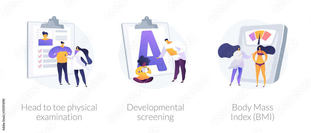 Fototapeta General health check up icons cartoon set. Head to toe physical examination, developmental screening, Body Mass Index BMI metaphors. Vector isolated concept metaphor illustrations.