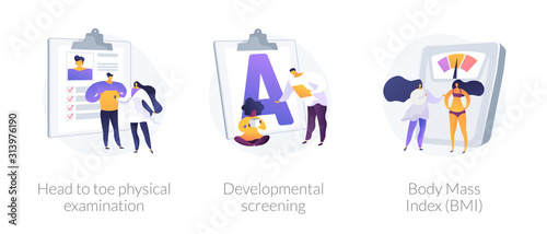 General health check up icons cartoon set. Head to toe physical examination, developmental screening, Body Mass Index BMI metaphors. Vector isolated concept metaphor illustrations. - 313976190