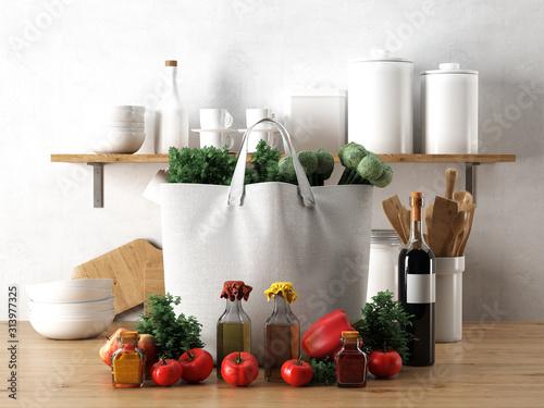 Ilustração 3D Realista de sacola de compras de tecido com vegetais, ao lado de vidros de azeite e tempero, garrafa de vinho e vários itens de cozinha sobre uma mesa de cozinha e prateleira de madeira Slika na platnu