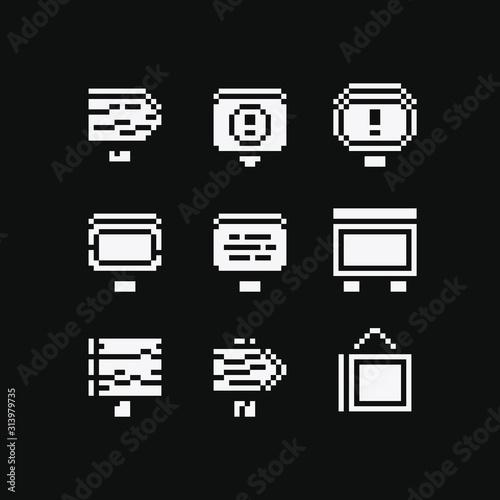 Obraz Signboards set. Pixel art flat style. Wooden signboard, stop sign. Design for logo mobile app, web, sticker. 8-bit sprite. Game assets. Isolated vector illustration. - fototapety do salonu