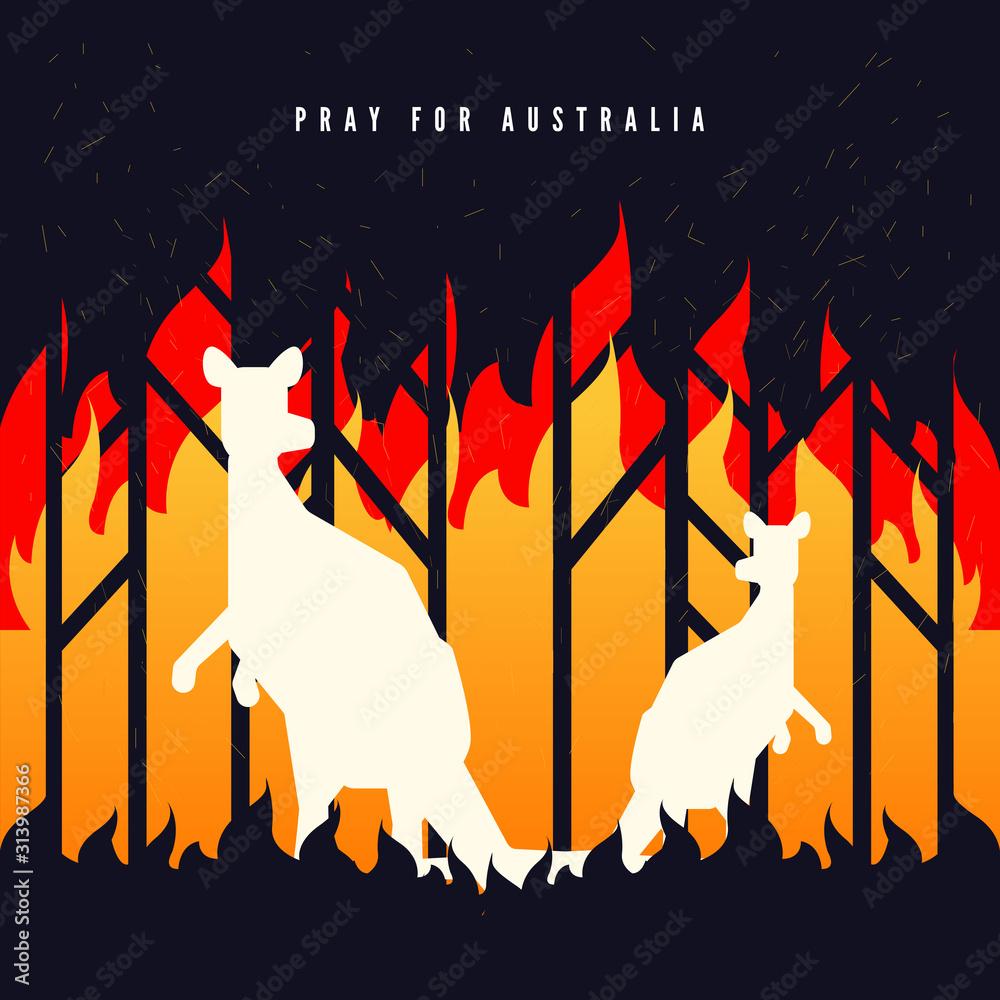 Fototapeta Pray for Australia banner. Forest in fire burning with kangaroo.