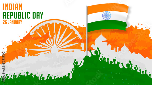Obraz Indian republic day with people, flag and building illustrations - fototapety do salonu