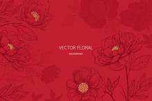 Abstract Red Peony And Gold Light Gradient Lines Background Vector Illustration For Card Invite , Wallpaper.