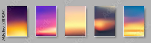 Obraz Set of colorful sunset and sunrise paper cards. Blurred modern gradient mesh background. - fototapety do salonu