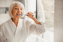 Elderly Woman In Bathrobe Brus...