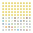 Set of 100 real estate Icons on White Background Vector Isolated Elements...