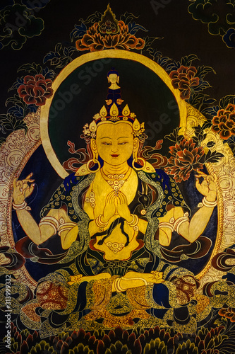 Fotografie, Obraz Mural paintings in the Buddhist monastery