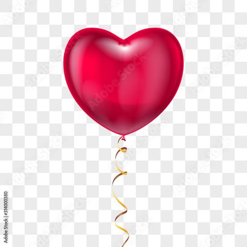Balon czerwony realistyczny kształt serca z koronki na przezroczystym tle. Wektor Walentynki wakacje, wesele lub romantyczny symbol randki. Urodziny, uroczystości z okazji rocznicy, znak niespodzianki