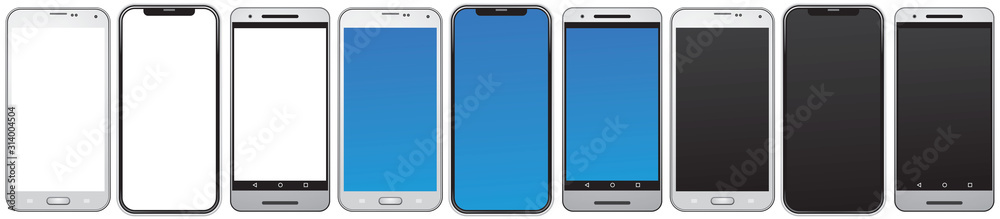 Fototapeta Smart phone, same types of the smartphones, mobile phones isolated with blank, blue and black screens vector illustration for the design or cell phone mockup