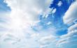Leinwandbild Motiv white fluffy clouds on blue sky in summer