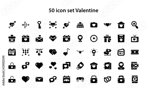Fototapeta 50 Set Valentine icon, Februari obraz na płótnie