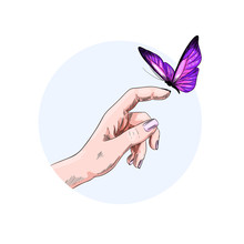 Butterfly Flying To The Finger Of Girl Hand, Color
