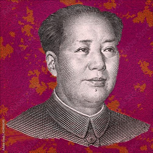 Fotografia Mao Zedong  portrait close up isolated on multicolor background