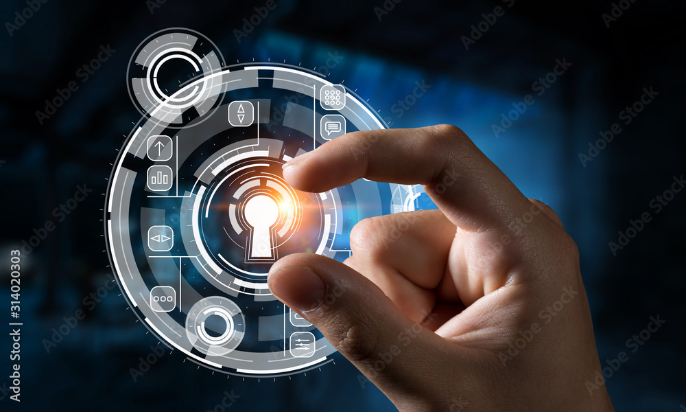 Fototapeta Security solution concept . Mixed media