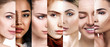 Leinwandbild Motiv Different female faces with lifting arrows.