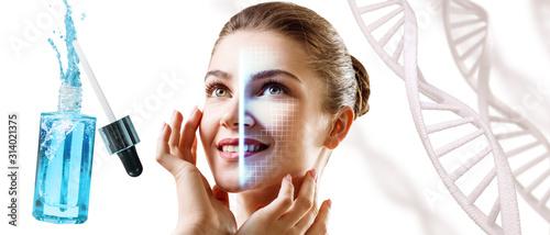 Obraz Technological scanning of female face among DNA stems. - fototapety do salonu