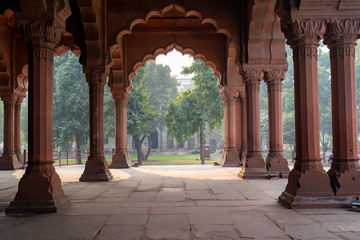 Inside the arcade area with arches in the Red Fort of Delhi India