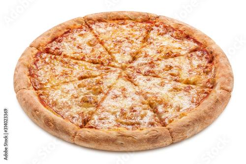 Canvastavla Delicious pizza Margherita (tomato sauce and mozzarella), isolated on white back