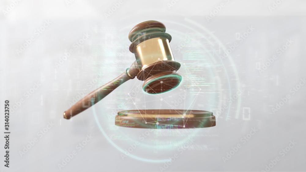 Fototapeta Justice hammer and data - 3d rendering