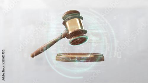 Obraz Justice hammer and data - 3d rendering - fototapety do salonu