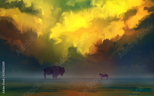 Papel de parede  Meeting lion and bison over the earth horizon on a background of fiery sky