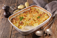 Gratin Dauphinois, Baked Potato With Cream And Cheese