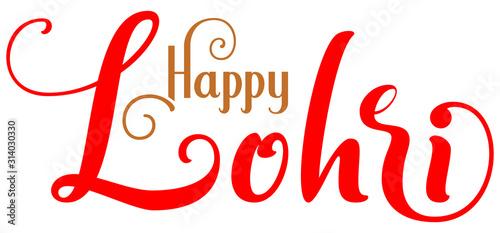 Valokuva Happy Lohri ornate lettering text indian holiday greeting card