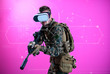 canvas print picture - soldier using  virtual reality headset