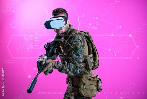 canvas print motiv - .shock : soldier using  virtual reality headset