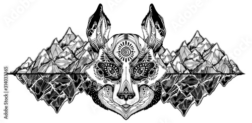 Obraz Folk magic wolf or raccoon dog beast on wilderness mountain background. - fototapety do salonu
