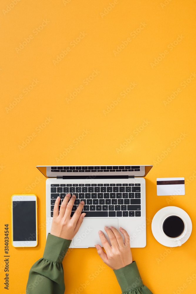 Fototapeta Woman working at home office. Female hands on the keyboard.