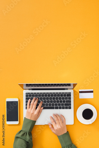 Obraz Woman working at home office. Female hands on the keyboard. - fototapety do salonu