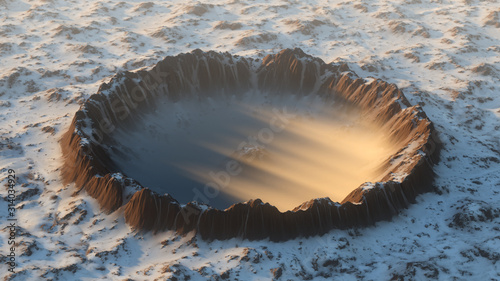Canvas Print Crater on the ground covered in snow