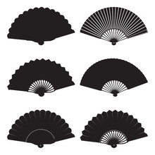 Oriental Folding Fan Silhouett...