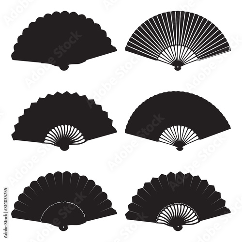 Oriental folding fan silhouette set, vector isolated illustration - 314035755