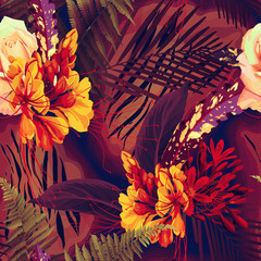 Seamless floral pattern with tropical flowers on dark background. Template de...