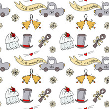 Seamless Pattern With Hand-drawn Cats Wedding Elements And Wedding Lettering. Red, Grey, Orange Colors. Vintage Style And Colors. Doodle Style, Line Art Vector Illustration On White Background.